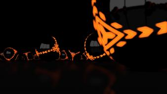 3d dark orange reflections warning wallpaper