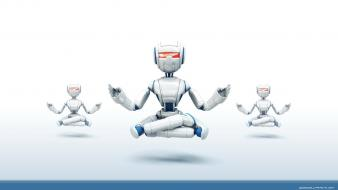 3d digital art robots yoga wallpaper