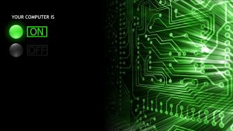 Abstract circuit boards computers green wallpaper