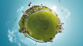 Abstract cycling digital art lens panorama circle Wallpaper