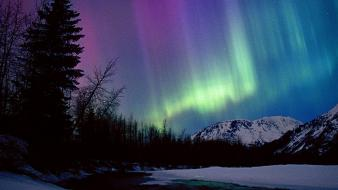 Alaska aurora borealis rivers valleys wallpaper