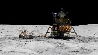 Apollo 16 moon multiscreen outer space panorama Wallpaper