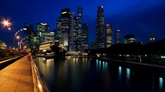 Architecture cityscapes night city rivers skyscrapers wallpaper