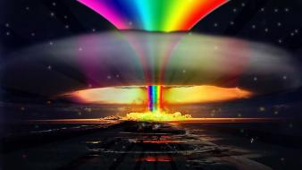 Atomic bomb colors explosion funny hippie wallpaper