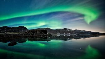 Aurora borealis landscapes lights mountains night wallpaper