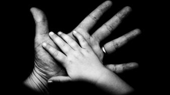 Baby black background grayscale hands love wallpaper