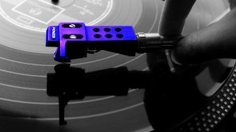 Blue color splash purple turntables wallpaper