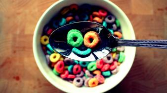 Cereal smiley face spoons wallpaper