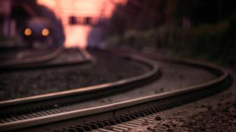 Depth of field railroads railroad tracks railway trains Wallpaper