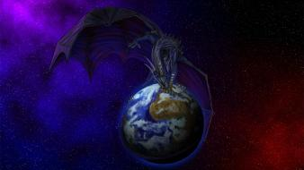 Earth artwork dragons fantasy art outer space wallpaper
