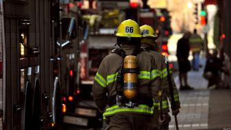 Firefighter fireman streets urban wallpaper