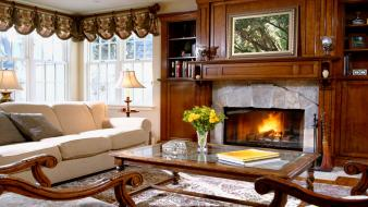 Fireplaces interior living room wallpaper