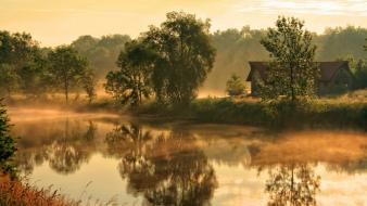 Flat houses landscapes mist morning wallpaper