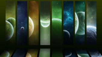 Green outer space science fiction wallpaper