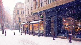 Grocery stores snowflakes streets urban wallpaper