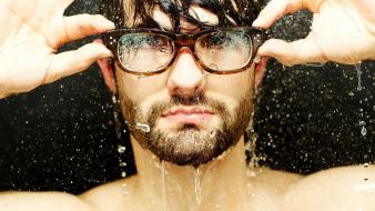 Hands men with glasses nerd studio rain water wallpaper