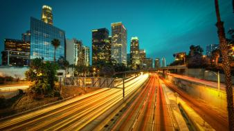 Los angeles chrome city lights long exposure nature wallpaper