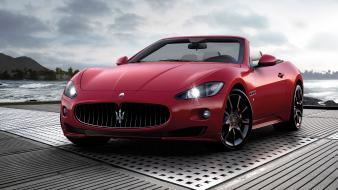 Maserati grancabrio cars convertible red vehicles wallpaper