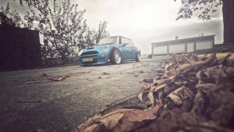Mini cooper s blue cars leaves vehicles wallpaper