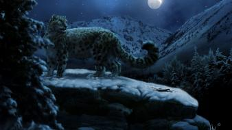 Moon animals artwork forests leopards wallpaper
