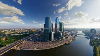 Moscow blue skies cityscapes fisheye effect nature wallpaper