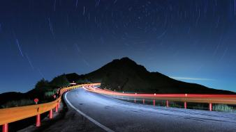 Mountains night stars streets wallpaper