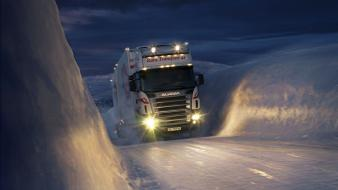 Norway scania night snow trailer wallpaper