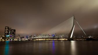Rotterdam the netherlands cityscapes night wallpaper