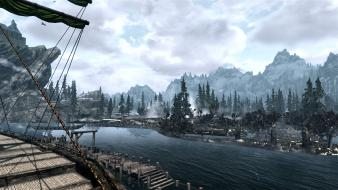 Scrolls v skyrim boats landscapes mountains outdoors wallpaper