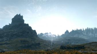 Scrolls v skyrim dawn landscapes outdoors scenic Wallpaper