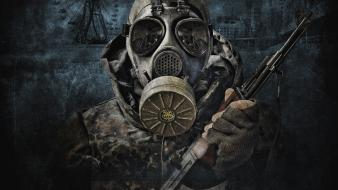 Stalker assault rifle ferris wheels gas masks guns wallpaper