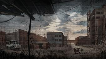 Stalker call of pripyat abandoned artwork cityscapes dogs wallpaper