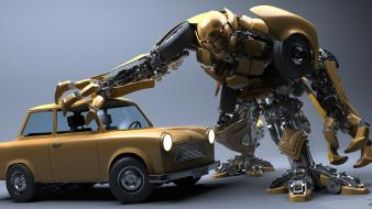 Trabant digital art robots wallpaper