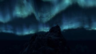 V skyrim aurora borealis landscapes mountains night wallpaper