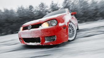 Volkswagen golf v cars drift snow wallpaper