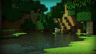 3d minecraft cinema 4d renders sheep Wallpaper