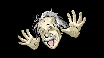 Albert einstein black background funny portraits wallpaper