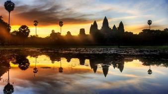 Angkor wat cambodia lakes wallpaper