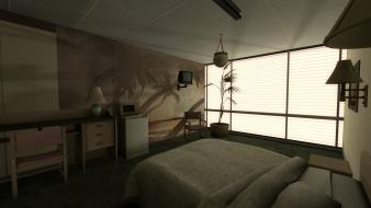 Aperture laboratories portal 2 bedroom beds wallpaper