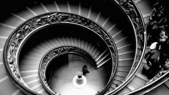 Architecture grayscale stairways wallpaper