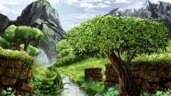 Artwork digital art fantasy science fiction trees wallpaper