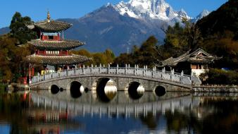 Asian architecture bridges lakes mountains nature wallpaper