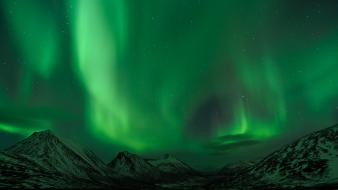 Aurora borealis landscapes mountains wallpaper