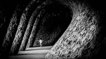 Barcelona spain black and white children grayscale wallpaper