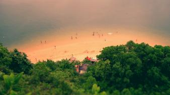Beaches nature sand sea tiltshift wallpaper