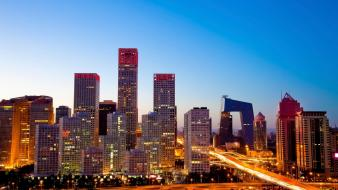 Beijing international trade center china cityscapes long exposure wallpaper