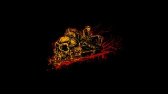 Black background skulls trains wallpaper