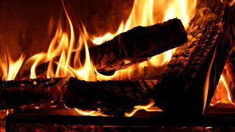 Branches fire fireplaces logs Wallpaper