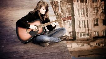 Bridges brunettes guitars jeans music wallpaper