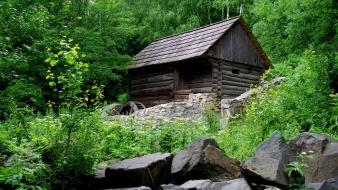 Buildings cabin forests landscapes nature wallpaper